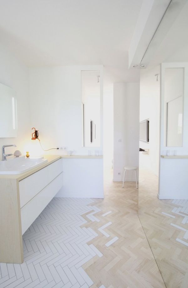 Wonderful  Tiles Floor In A Herringbone Pattern Marble Subway Tiles Bath