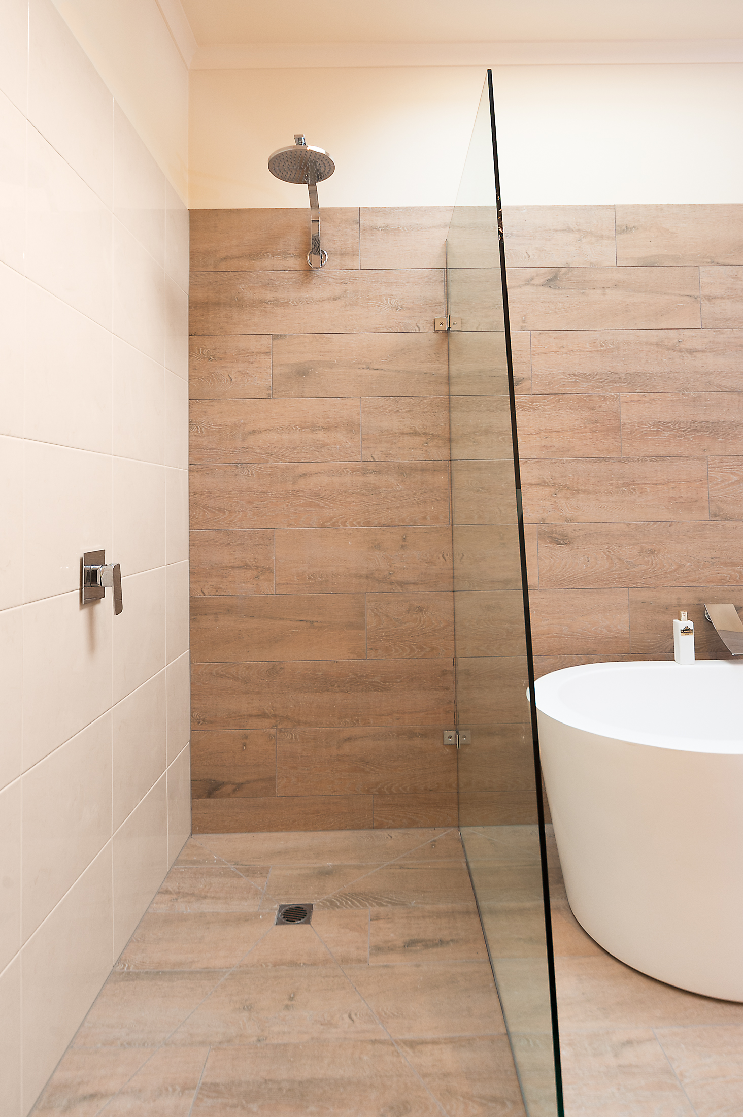 Ceramic timber tiles bathroom renovation in belmont for Tile floors bathroom