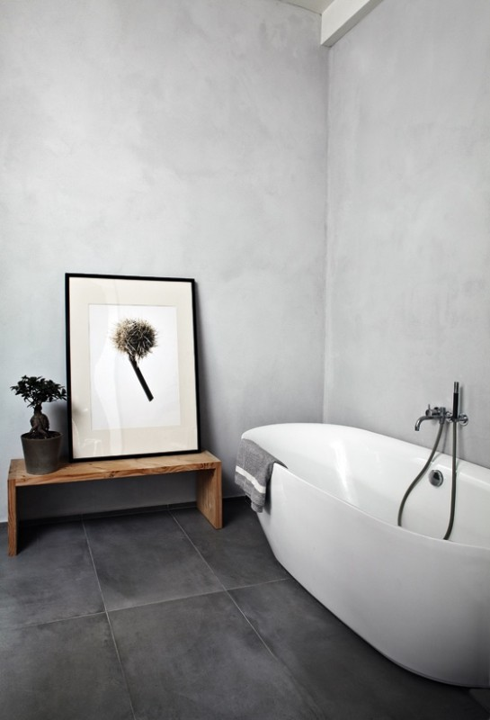 Grey Washed Floor Tiles, Concrete Washed Walls, White Tub, Meet The Black,  White, U0026 Grey Hue Standards For A Modern Minimalist Space. Images Via  Pinterest
