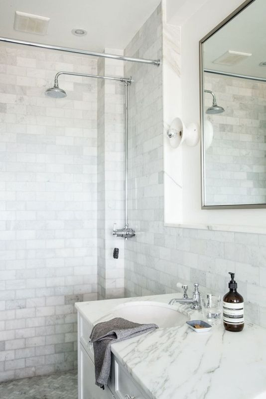 Above: Marble Subway Tiles On Walls With Marble Mosaic Herringbone Floor  Tiles And Marble Counter Top, Image Via Pinterest. Part 82