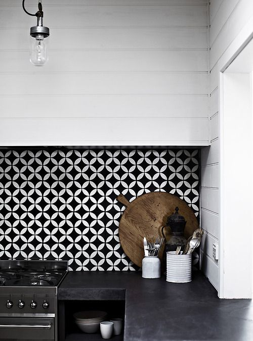 Above: Black U0026 White Geometric Tiles Make A Bold Statement In This  Monochromatic Kitchen, Image Via Pinterest. Part 98