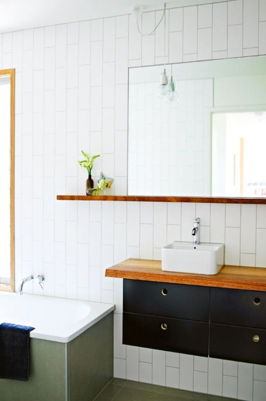 Bathroom white subway tile