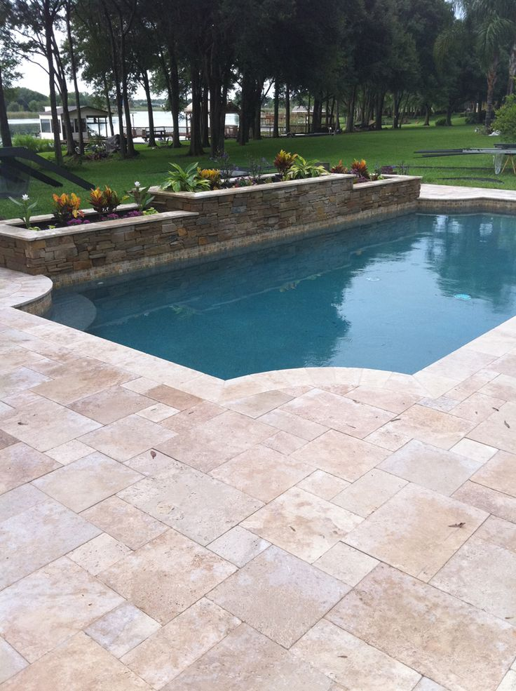 Pool surround answers granite blue stone or sandstone Rectangle vs round pool